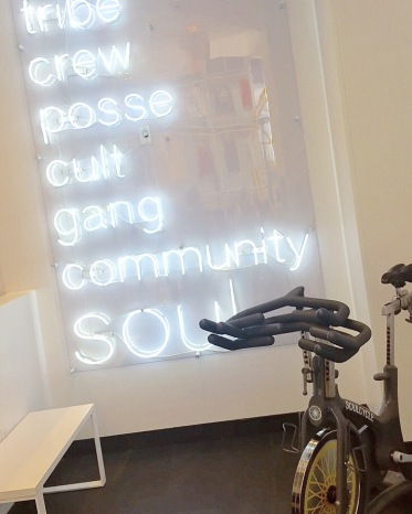 SoulCycle Noho neon lights